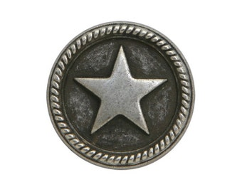6 Roped Star 11/16 inch ( 18 mm ) Metal Buttons Antique Silver Color