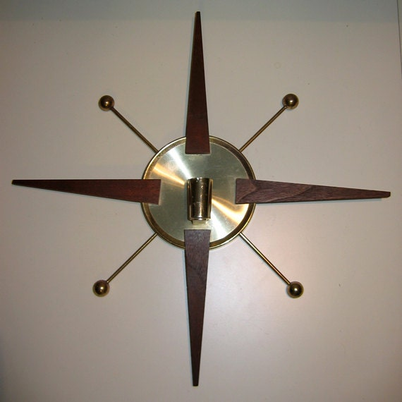 Mid Century Danish Modern Atomic Starburst Wall Sconce Candle