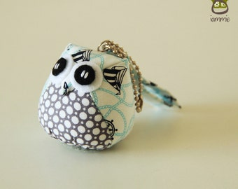 Marine - Owl Doll with a Bag: owl plush, owl decor, little, mini, kid, navy, blue, poka dot, sailboat, white, owl decoration, sea