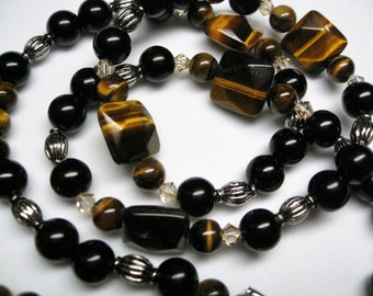 Black bead neclace black jewelry tiger eye necklace beaded jewelry long beaded necklace fashion necklace black and silver jewelry