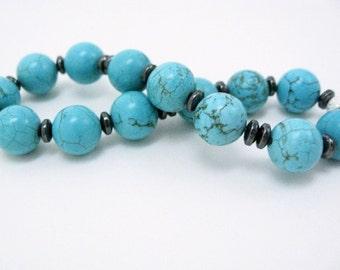Turquoise Beaded Bracelet stretch semiprecious gemstone howlite and hematite turquoise blue bracelet gift for her Birthday