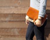 Clutch purse - Waxed Canvas, Leather,Natural, Saddle Tan, Veg-tan