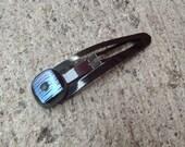 Purple Blue Fused Glass Barrette