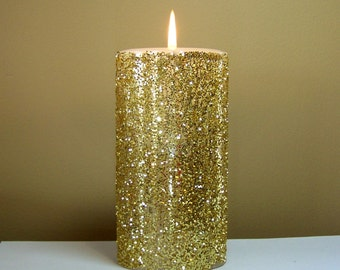 "Gold Glitter Pillar Candle, Wedding Candles - Choose 4"", 6"", 9"" Height"