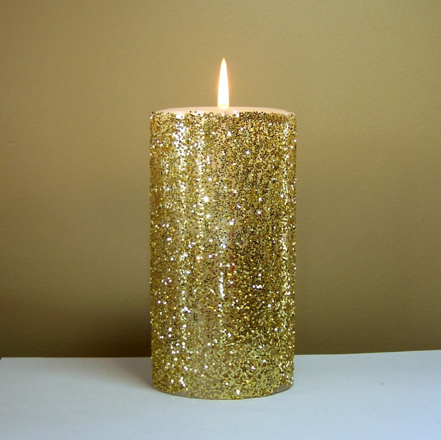 Gold glitter pillar candle wedding candles choose 4 for Decoration candles