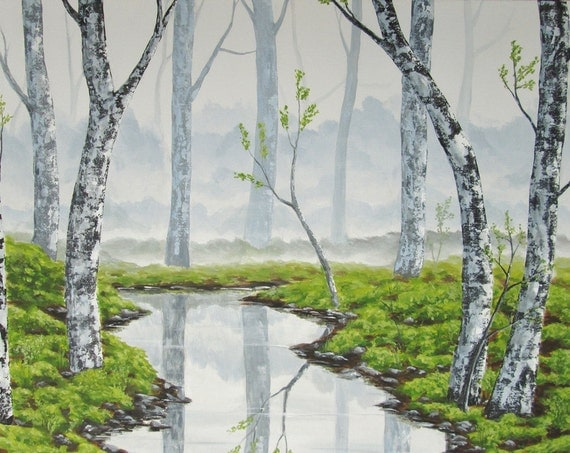 Landscape painting misty forest original large painting for Painting a forest in acrylics