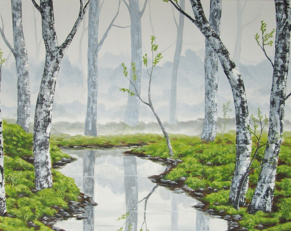 misty forest, foggy forest, forest, fog, mist, grey art, gray landscape art, foggy landscape painting, landscape painting, acrylic painting, gray nature art, landscape fine art, acrylic painting, misty landscape art