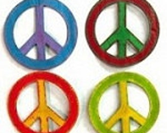 Recycled Metal Art Peace Sign Fridge Magnets