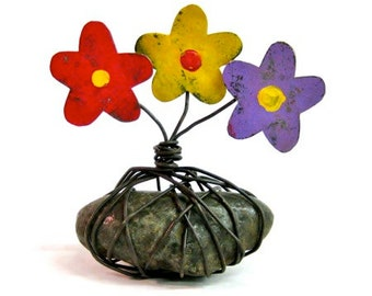 Recycled Metal Flowers on Rock Rustic Home Decor Accessory