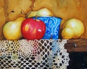 Watercolor still life with yellow pears, red apple and antique blue enamel bowl on lace doily.