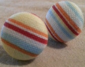 Fabric Covered Summer Striped Button Earrings