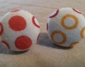 Fabric Covered Polka Dot Button Earrings