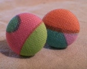 Fabric Covered Colorful 80s Style Button Earrings