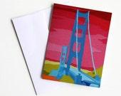 Golden Gate Bridge Blank Notecard Art Print San Francisco California Paper Goods Gifts Under 5