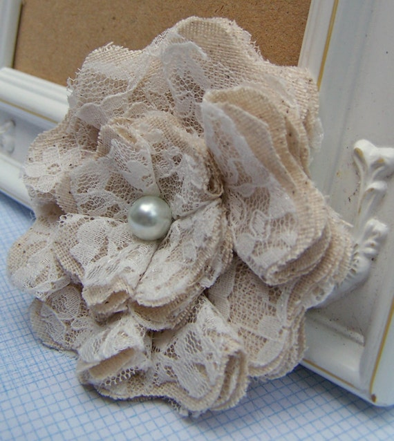 Lace Shabby Chic Fabric Flowers Set of 2 - Weddings,  Brooch, Barrette, Necklace, Headband