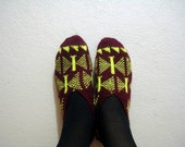 SALE womens slippers, girls slippers, maroon and neon yellow knitted slippers, gift for girls women, womens home shoes booties socks