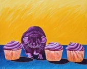 Pet Rat Art Cute Purple Rat Acrylic Painting Kitchen Wall Art Nursery Wall Art Cupcake Painting Rat Lover Gift Still Life Painting