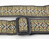 Vintage Boho Camera Strap Ochre, Emerald, Gold, Rust//Reduced