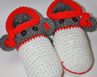 Womens Adult Sock Monkey Slippers