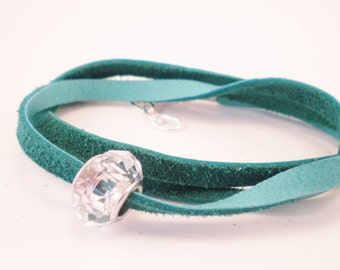 Teal Green Leather Wrap Bracelet, Anklet, Necklace with Crystal Bead