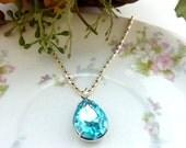 Aquamarine Necklace aqua blue Necklace March Birthstone Pendant Bridesmaids Wedding Necklace