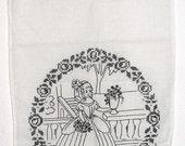 Edwardian Era German Overtowel Show Towel Black On White Hand Stitched Linen Black Work