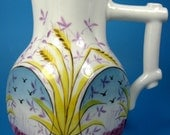 Aesthetic Movement Late Victorian Pitcher Antique Staffordshire Hand Painted 1880s Birds Grain