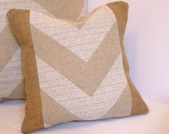 "12""x12"" Chevron & Burlap Accent Pillow Sham"