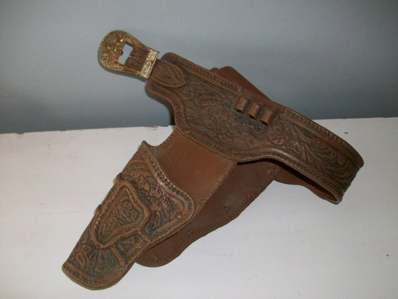 1960s VTG  Embossed Plastic Toy Holster w Decorative Metal Buckle