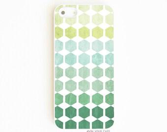 iPhone 5 Case. iPhone 5S Case. Geometric Ombre Emerald Green Teal. Phone Case. iPhone Case. Made in America.