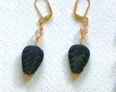 Carved-Black-Agate-Leaf-Crystal-Earrings