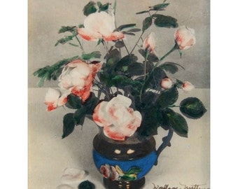 Wallace Nutting Original Photograph Hand-Colored Still Life with Roses Signed