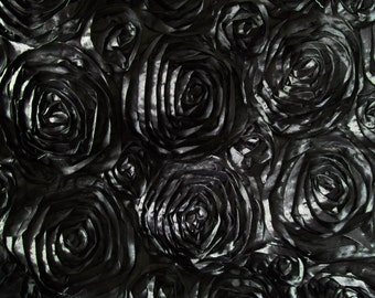 Splenda Satin Ribbon Rosette Black 58 Inch Fabric by the Yard