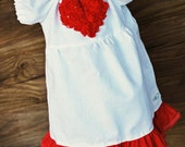 Valentine's Day Girls and Toddler Dress White Linen