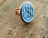 Antique Wax Seal Monogrammed Ring - 18K Yellow Gold