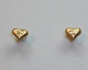 Vintage 14k solid gold diamond cut earrings