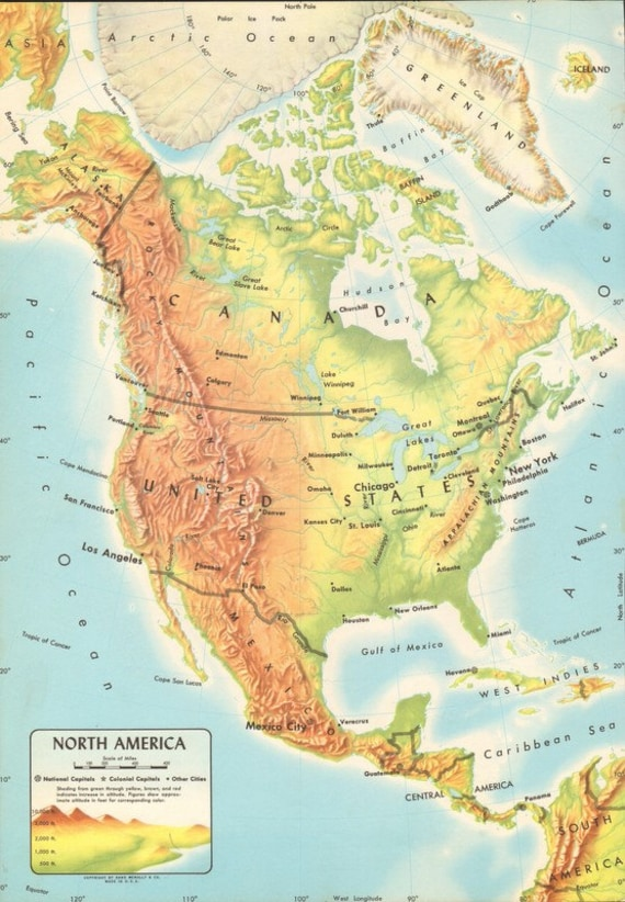 Items Similar To Vintage Physical Map Of North America USA Central - Physical map of usa