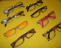 Hand painted reading glasses or Clear fashion Glasses