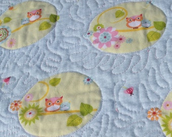 Sophie's Pink Baby Owls Modern Quilt