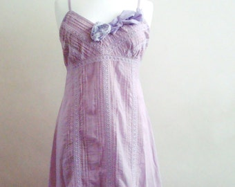 Upcycled Woman's Clothing Romantic Eco Style  Dress Summer Fashion Hand-Dyed Lavender Lilac Doll Party Inspired Fairy gown OOAK