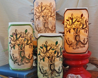 Tree Goddess Embroidered Set of 4 LED Candle Wraps For LED Flameless Pillar Candles. Spring, Summer, Fall, and Winter