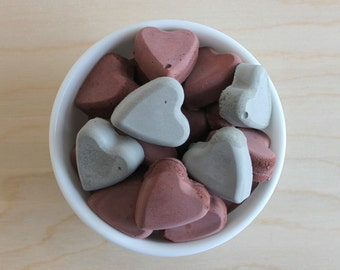 cement vase filler // heart vase filler // cement hearts // concrete vase filler // cement bowl filler // cement centerpiece // red and grey