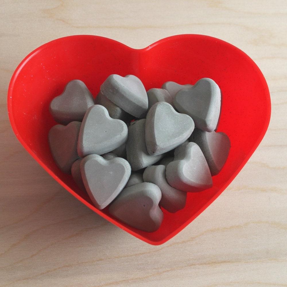 cement vase filler // heart vase filler // grey concrete heart