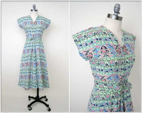 vintage 40s dress // 1940s print dress // floral print dress // 40s sundress