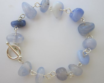 Blue Quartz Bracelet - - Cornflower Blue, Eclectic, Unique, Casual, For Her, Gift for Her, For Mom, Birthday, Nature Lover, Natural Stone,