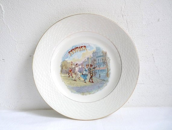 Antique Month Of The Year Plate February French Breakfast