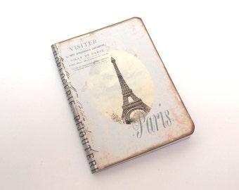 Mini Paris Travel Journal, Paris Notebook, Eiffel Tower Pocketbook, Pale Blue Stripes, French Journal, Vintage Paris Notebook