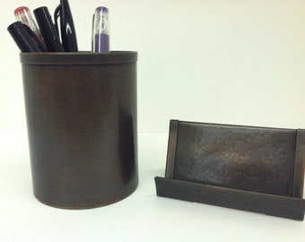 Round Hammered Pen Pencil Holder With Business Card Holder Bronze Patina