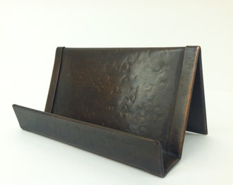 Round Hammered Copper Business Card Holder Bronze Patina