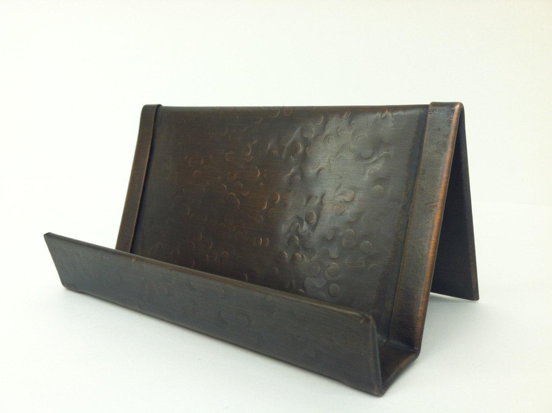 Round Hammered Copper Business Card Holder Bronze Patina